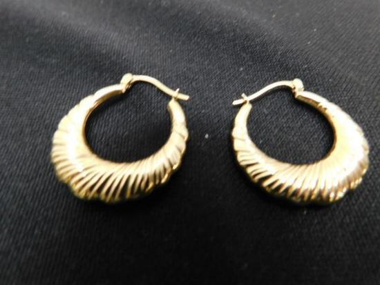 10 K Yellow Gold Hoop Earrings