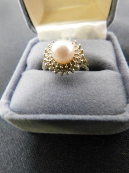 14K Yellow Gold Diamond and Pearl Halo Ring
