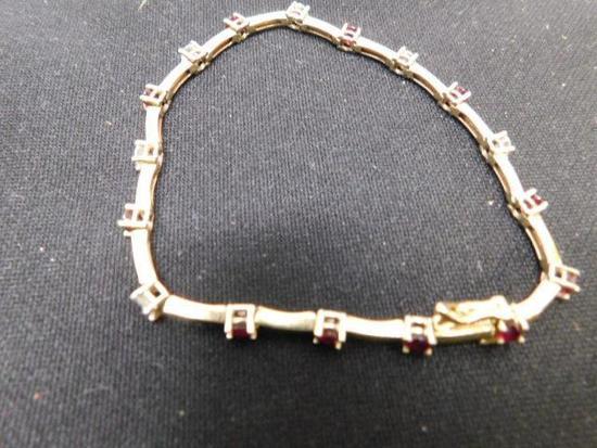 14K Vintage Diamond and Ruby Bracelet