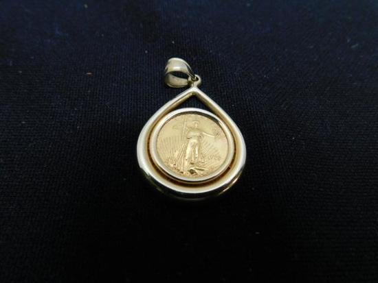 Gold Coin in Bezel