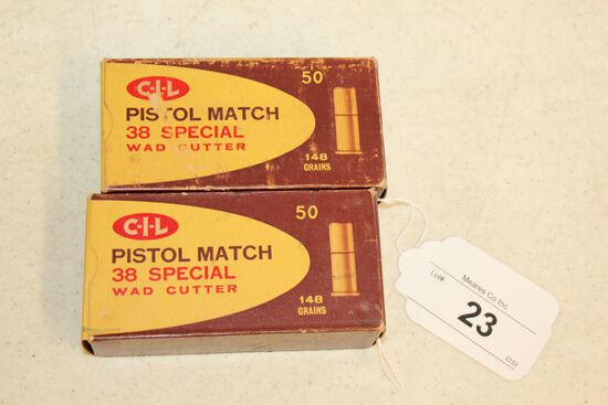 100 Rounds of CIL .38 Special Wad Cutter Pistol Match Ammo