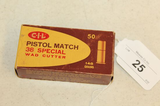 50 Rounds of CIL .38 Special Wad Cutter Pistol Match Ammo