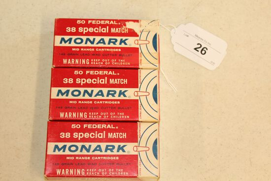 150 Rounds of Monark .38 Special Match Wad Cutter Ammo