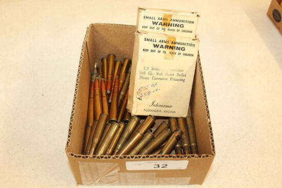 1 Lot of Ammo- 7.5 Swiss, .303 British and 7.7 Jap.