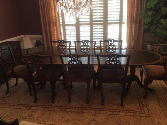 Large Ornate Dining Table with Chairs