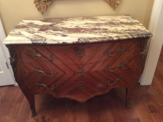 Vintage 3 Drawer Marble Top Chest