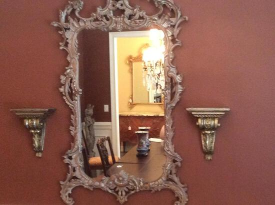 Ornate Pewter Colored Mirror with Sconces