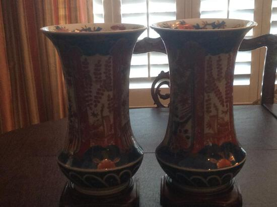 2 Oriental Vases with Stands