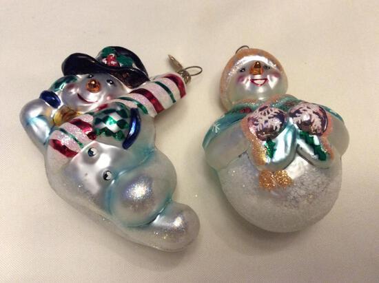 Radko Lot of Two Snowman Ornaments