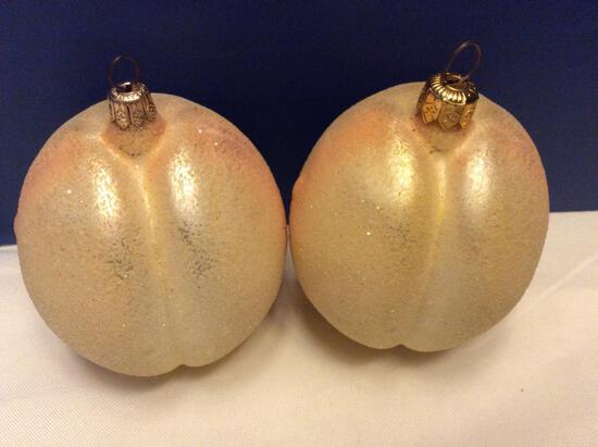 Radko Lot of Large Frosted Peach Ornaments