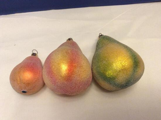 Radko Lot of Frosted Pear Ornaments