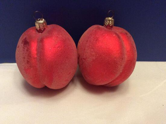 Radko Lot of Small Frosted Peach Ornaments