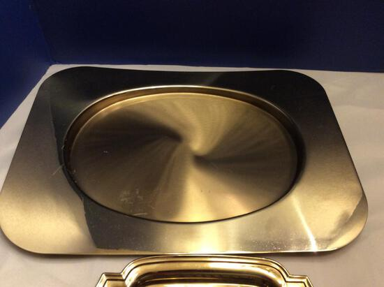 Lot of Two Gilded Serving Platters