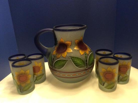Hand Painted Frosted Glass Sunflowers Beverage Set
