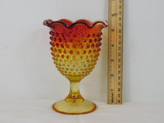 Amberina Glass Hobnail Goblet Like Glass