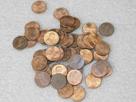 Pennies Approx 50 With Mixed Dates AU