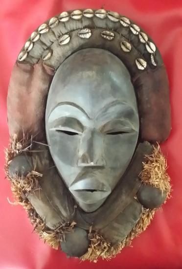 "Antique Ivory Coast African Tribal Mask 14x10""    Vintage Hand Carved Wood African Tribal Mask Shell"