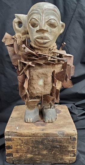 Congo Nkondi Power Figure on Box Stand (Nail Fetish Art)