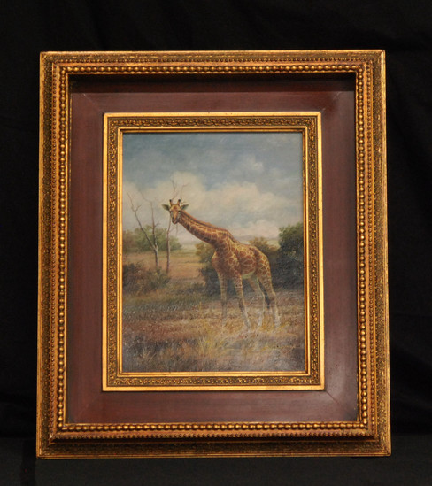 Exquisite Giraffe in the Savanna Landscape Oil Painting Signed by Artist 26x22.5 inches