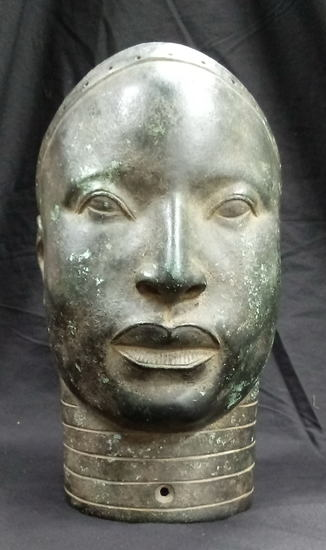 Ancient Rare Benin Bronze Oba Head 9.5-lbs, 11.5x9x6 inches