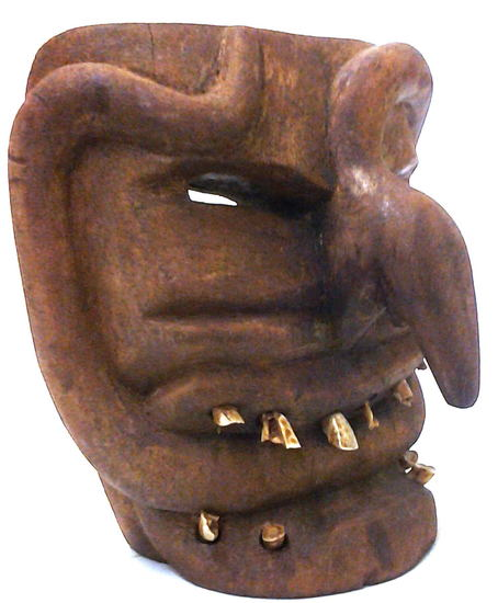 """Antique African Chokwre Booger Mask with Animal Teeth 9x8x6"""", 3-lbs"""