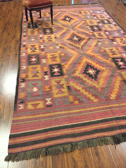 Antique Rug Hand Woven Afghani #911 (Free Fedx)