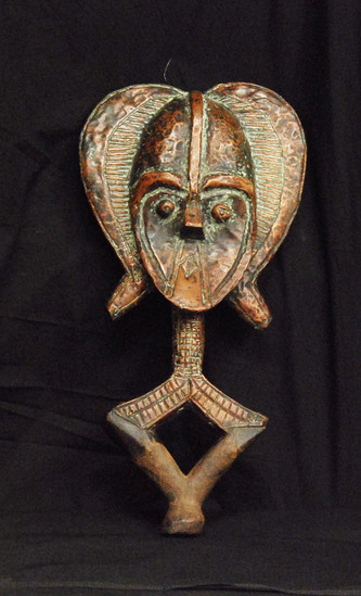 """Antique African Kota Reliquary Figure of Iron Wood & Copper 23.00x12.00x4.00"""", 8-lbs"""