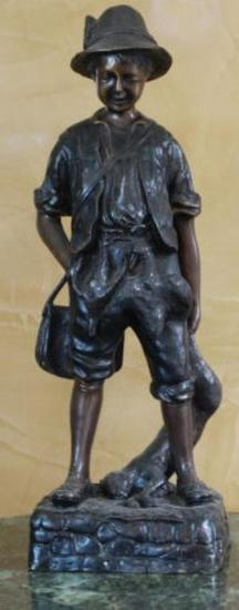 "Antique French Bronze Sculpture Signed A. Moreau 17"", 13-lbs"
