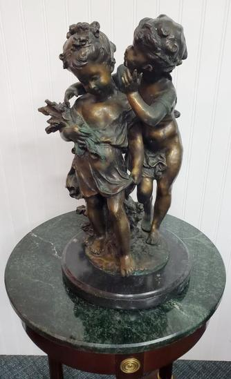 "Antique French Bronze Sculpture Signed Moreau 18"", 47-lbs"