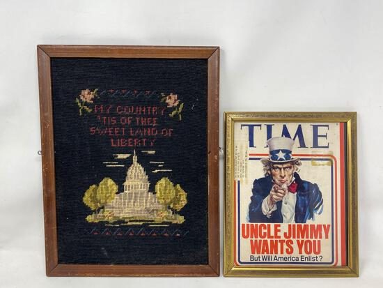 Framed 1970's Time Magazine Cover and Patriotic Needlework