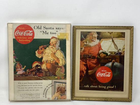Mid Century Framed Coca Cola Santa Magazine Advertisements