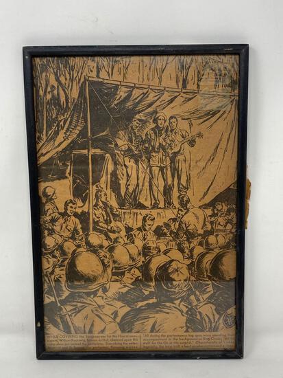 Mid Century WW 2 Framed Newspaper Drawing