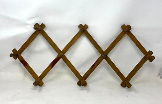 Vintage Folding Wooden Ten Peg Rack Hat and Coat Rack