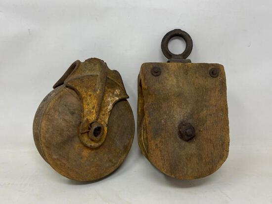 Early Antique Wood Pulleys