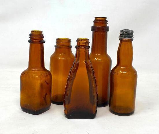 Vintage Brown Glass Bottles