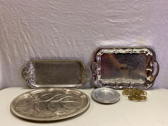 Silverplate and Pewter Trays and Plate