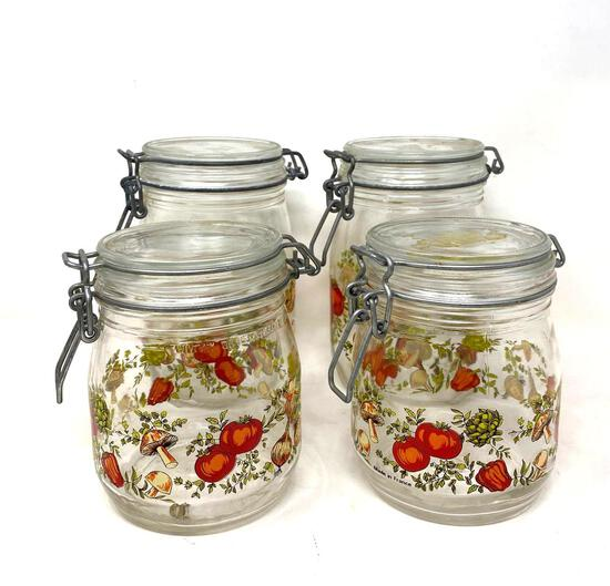 Vintage Decorated Jars with Spring Closure Lids