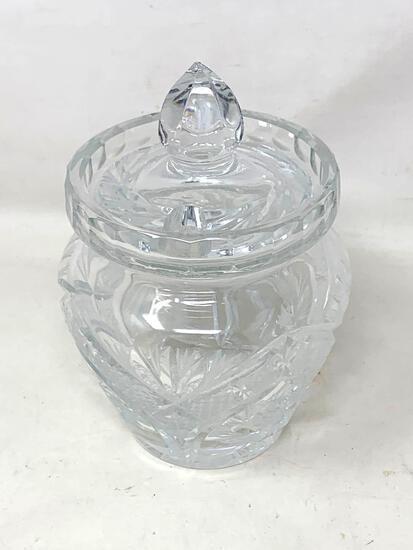 Crystal sugar bowl, with lid