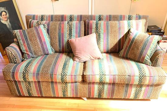 Striped Pattern Sleeper Sofa, Overstuffed, with throw pillows