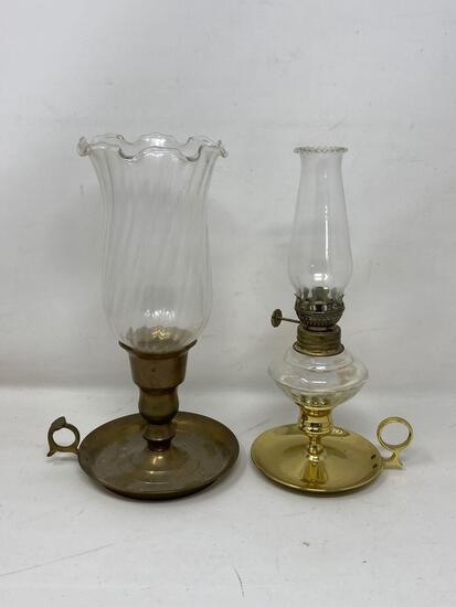 Brass Base Oil Lantern and Candle Holder