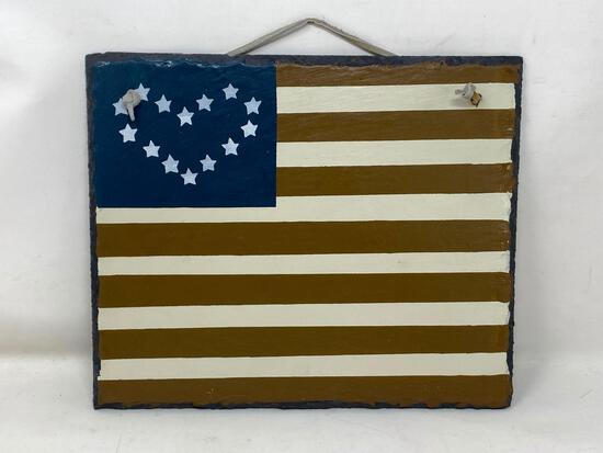 Paint Decorated Slate Plaque; US Flag Type
