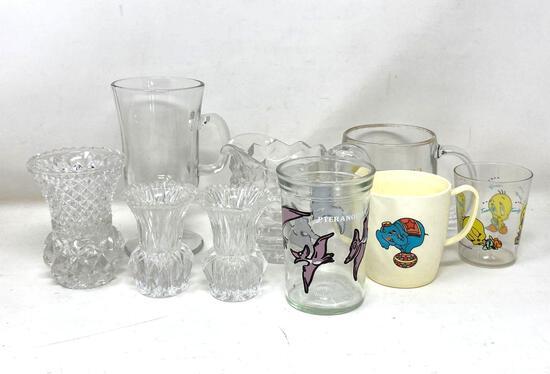 Vintage Glass: Toothpick Holders, Cream Pitcher, Cartoon Cups, Jelly Jar