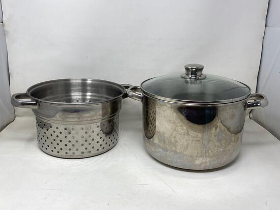 Stainless Steel Steam Pot with Basket and Lid