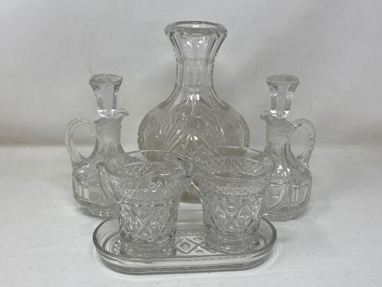 Lead Glass Decanter, Vinegar Cruets, Creamer and Sugar Set