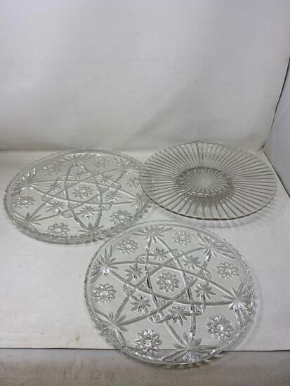 Patterned Glass Serving/Snack Plates