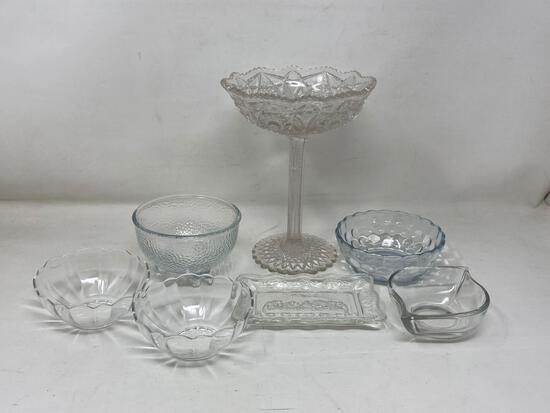 Assorted Glass Items, Stemmed Compote, and more