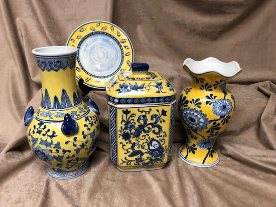 4pc Yellow and Blue Home Décor