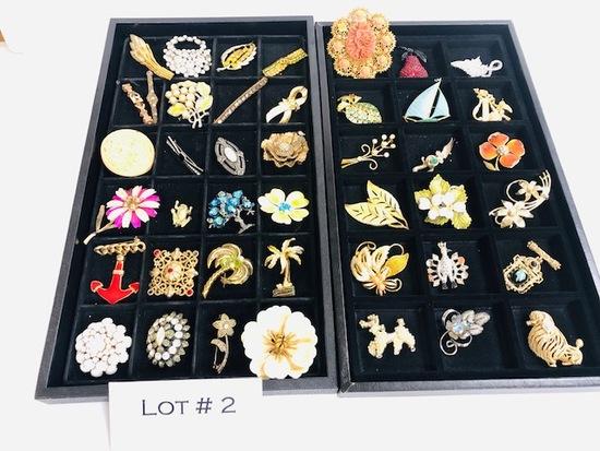 43 Vintage Costume Jewelry Broaches