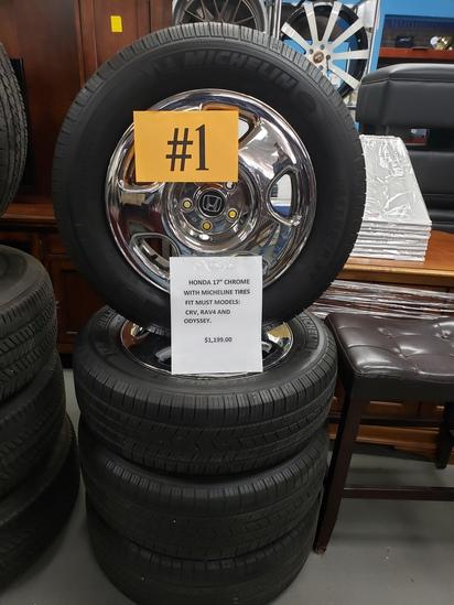 "Honda 17"" Chrome Wheels w/ Michelin Tires"