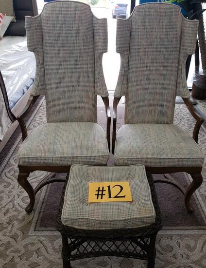 Set of 2 Chairs w/ Matching Ottoman